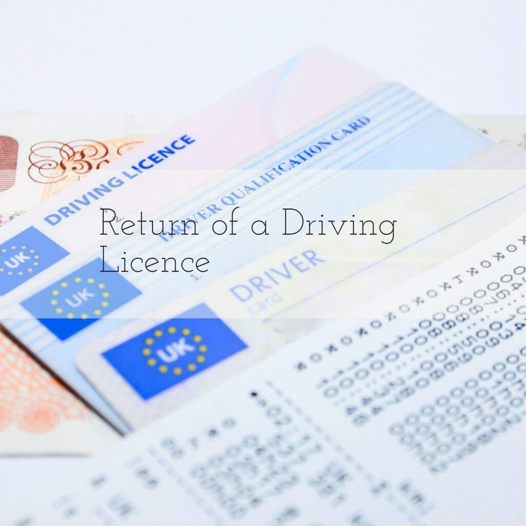 return of driving licence
